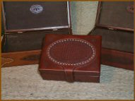 Custom made leather boxes.