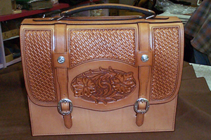 Hand Carved and Stamped Leather Brief Case