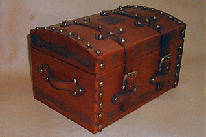 Treasure Chest Style Leather Box